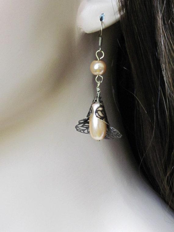 Trumpet Flower Earrings Pearl Earrings Bronze Earrings Filigree Earrings Women Jewelry Gift Bridesmaid Earrings Bridal Jewelry Gift For Her