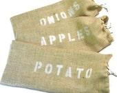 Onion Storage Bag of Burlap with Drawstring Closure, food storage bag,  USA Donation to Madcap Charity