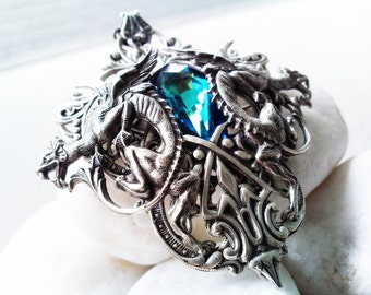 Atlantis - Aged silver plated brass filigree pendant - Fantasy mythology inspired jewelry - Vintage victorian steampunk gothic style - Made with Swarovski crystals from Swarovski ELEMENTS - A ValkyrieCouture Exclusive Design