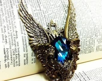 Poseidon (Gold/Blue) Winged Aged brass filigree pendant Fantasy mythology inspired jewelry - Vintage victorian steampunk gothic style