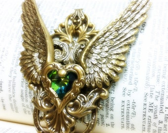Gothic Angel (Gold/Green) Winged Heart Aged brass filigree pendant Fantasy mythology inspired jewelry Vintage victorian steampunk gothic