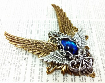 Persephone (Gold/Blue) Winged Aged brass filigree pendant Fantasy mythology inspired jewelry - Vintage victorian steampunk gothic style