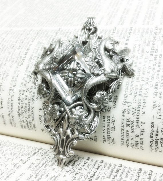 Star of Poseidon Aged silver plated brass filigree pendant Fantasy mythology inspired jewelry Vintage victorian steampunk gothic style