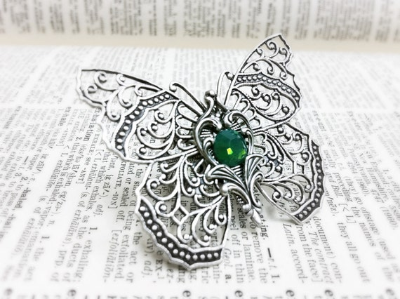 Silverwood III Butterfly filigree ring  Aged brass filigree ring