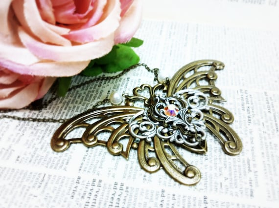 Monarch Butterfly Aged silver brass filigree pocket watch pendant Fantasy mythology  jewelry Vintage victorian steampunk gothic
