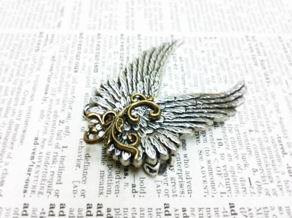Ear Cuff Spring Gold  Silver Wing Aged brass filigree Fantasy mythology inspired jewelry-Vintage victorian steampunk gothic style