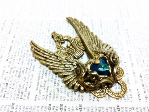 Valkyrie (Gold/Blue) Aged brass filigree pendant Fantasy mythology inspired jewelry Vintage victorian steampunk gothic style