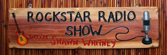 Personalized wood sign for radio disc jockey with guitar and vintage style microphone