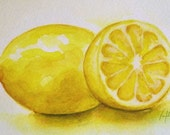 "Buy 1 Get 1 free - ""Lemon"" 5x7 - Watercolor Painting -  Print"