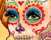 A3 Dia de los Muertos Catrina with Roses Tattoo Art Print Cathy FitzGerald