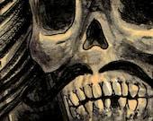 A3 Grim Reaper Skull Skeleton Tattoo Art Print Cathy FitzGerald