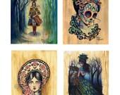 Buy three, get four A3 cardstock prints - bulk art prints tattoo flash dia de los muertos gothic victorian