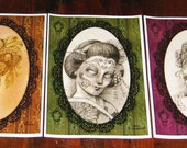 Victorian Trio  - Buy as a set and save - victorian gothic dia de los muertos pirate geisha marie antoinette tattoo style flash