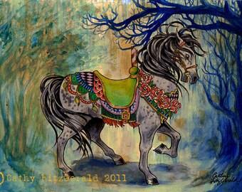 A4 Carousel Circus Horse Art Print Cathy FitzGerald