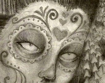 A3 - Dia de los Muertos - Day of the Dead - Geisha in Victorian Frame Tattoo Style Gothic Skull - Print