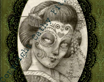 A4 Neo Victorian Dia de los Muertos - Day of the Dead - Japanese Geisha Tattoo Art Print Cathy FItzGerald