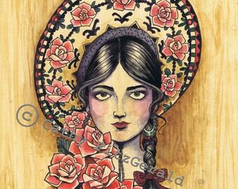 A4 Sombrero Mexican Girl Tattoo Art Print Cathy FitzGerald