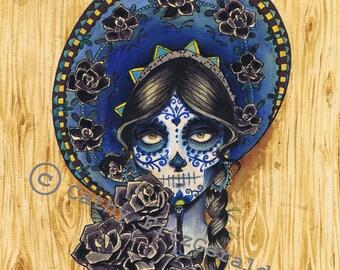 A4 Sombrero Dia de los Muertos Tattoo Girl Art Print Cathy FitzGerald
