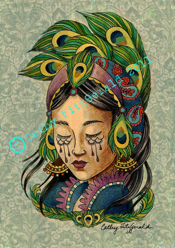 Victorian Girl Tattoos Peacock Tattoo Girl With