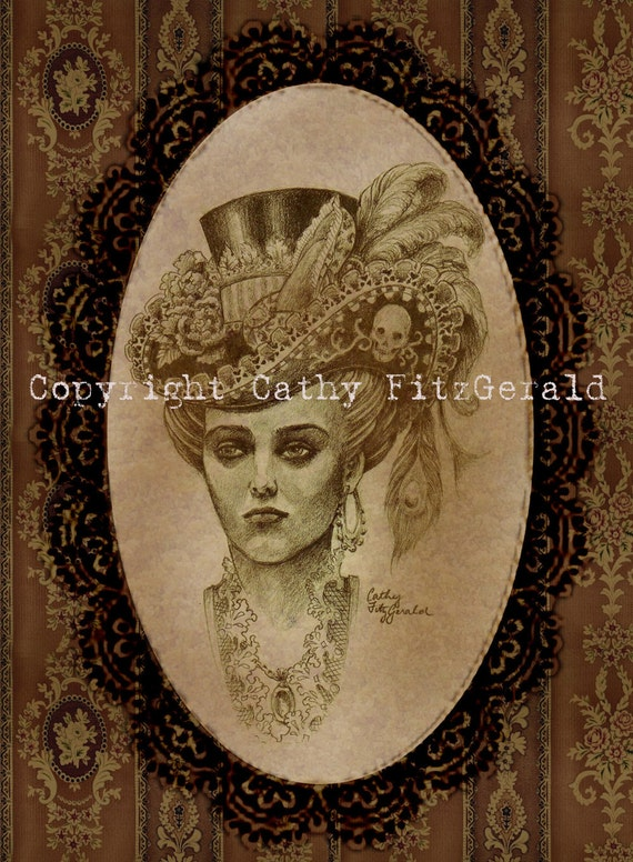 A4 Neo Victorian Gothic Pirate Woman with Skull Feather Hat Tattoo Art Print Cathy FitzGerald