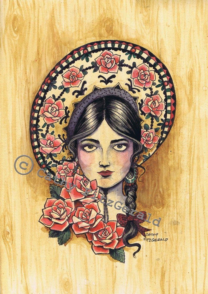 A4 sombrero mexican girl tattoo art print cathy fitzgerald for Mexican girl tattoos