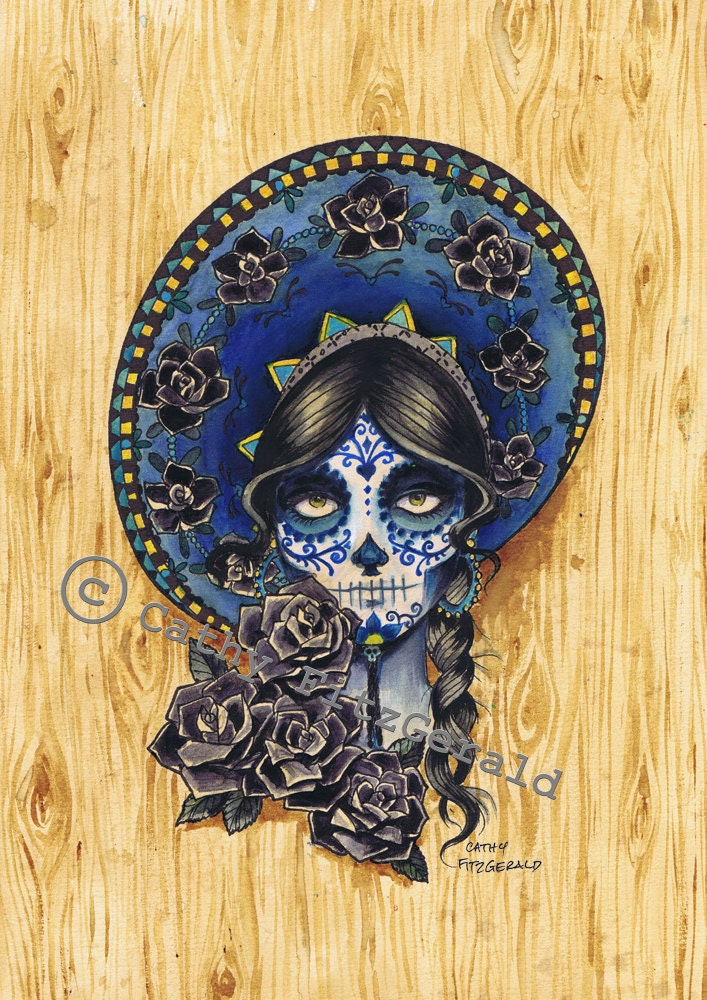 a4 sombrero dia de los muertos tattoo girl art print cathy. Black Bedroom Furniture Sets. Home Design Ideas