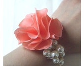 Coral Peach corsage flower bracelet with Cream pearls