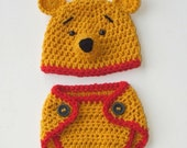 Winnie the Pooh Hat &  Diaper Cover  (newborn-3month size) Inspired by Winnie the Pooh