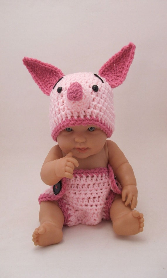 Piglet Hat & Diaper Cover Set, inspired by Winnie the Pooh (newborn-3 month size)