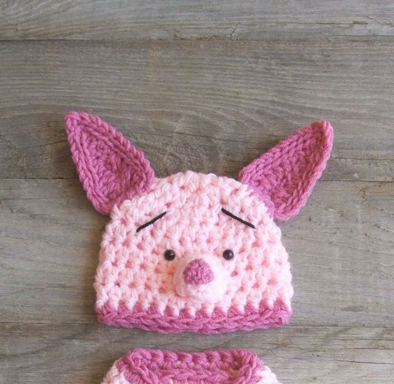 Piglet / Pig HAT ONLY -  inspired by Winnie the Pooh - Newborn (0-3, 3-6, 6-12 Months Sizes)