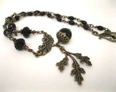 The Oak King's Bride Black Acorn & Brass Rosary Necklace Handfasting MADE TO ORDER.