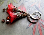 Red Trumpet Fairy Flowers with Victorian Brass Filigree. Steampunk Garden.