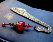 Fire Fairy Red Heart Pagan Beaded Bookmark White Witch Wicca