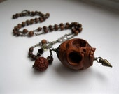 Momento Mori, Carved Wooden Skull Vintage Rosary Necklace with Rudraksha Bead and Glass Tear.