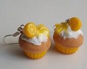 Lemon cupcake earrings