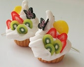 Cupcakes earring with butterfly, fruits and whipped cream
