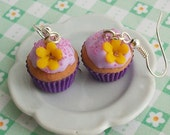 Purple cupcake with flower - sweet earrings