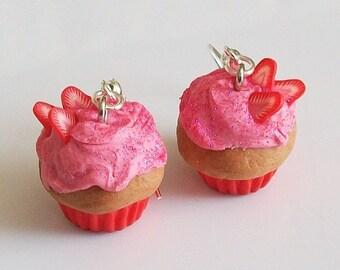 Strawberry on cupcake - earrings