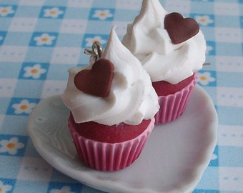 Red velvet cupcake  - sweet earrings