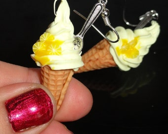 Ice cream with lemon and spoon - earrings
