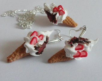 Ice cream with strawberry - earrings and necklace
