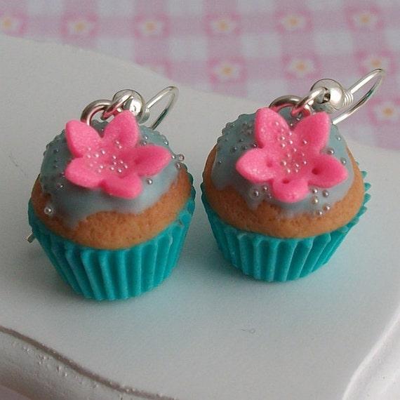 Cupcake with flower - sweet earrings