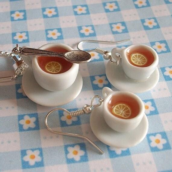 Tea set  - earrings and pendant necklace