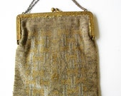 vintage metal beaded french clutch evening bag