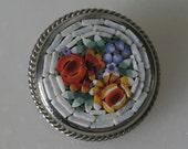 Vintage mosaic flower brooch