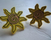 Large Happy Sunshine Wooden Post Earrings