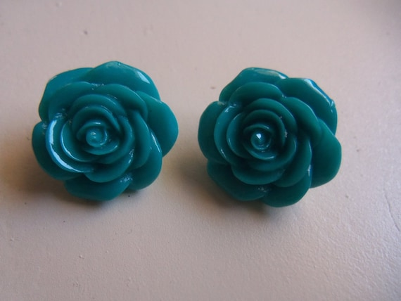 Large Bright Blue Cabachon Flower Stud Earrings