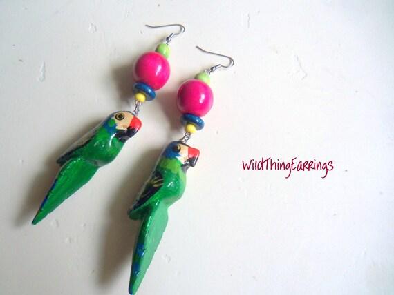 Polly Want A Cracker Wooden Parrot Dangle Earrings