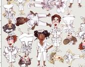 Tossed Nurses Gray Fabric Yard by Loralie