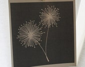 Dandelion - 8x8 Illustrated Print - Charcoal Gray Background